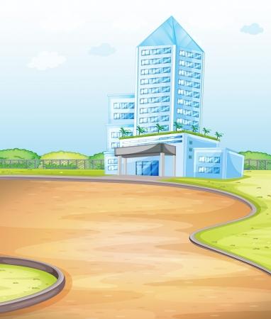 brick road: illustration of a blue building on blue sky background
