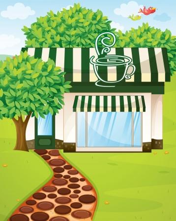 arbol de cafe: ilustraci�n de una tienda de caf� tienda de campa�a en la hermosa naturaleza