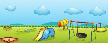 columpios: ilustración de un parque de juegos para niños