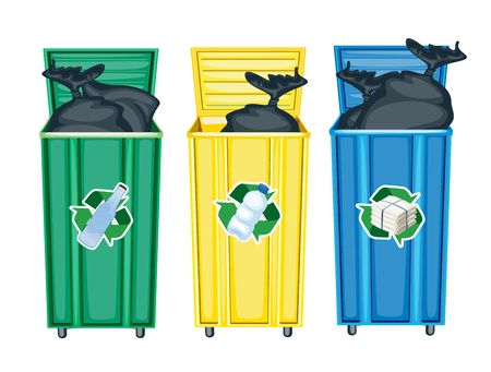 garbage bag: illustration of three dustbins on a white background