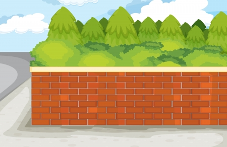 illustration of brick wall on nature green background Vector
