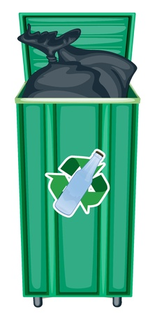 garbage bag: illustration of green dustbin on a white background