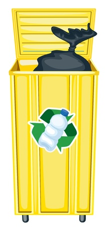 garbage bag: illustration of yellow dustbin on a white background
