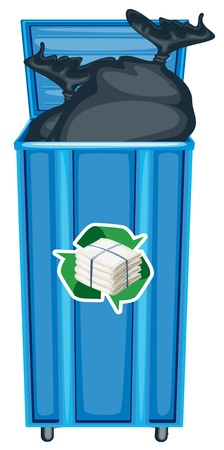 garbage bag: illustration of blue dustbin on a white background