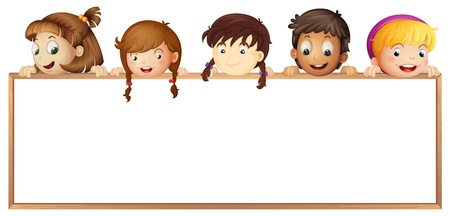 blank poster: illustration of a kids showing board on a white background