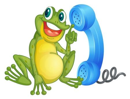 frosch: Illustration eines Frosches mit Telefon-Empf�nger auf einem wei�en