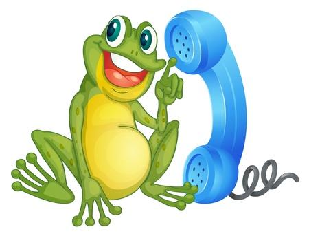 frog cartoon: illustration of a frog with phone receiver on a white Illustration