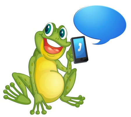illustration of a frog with cell phone on a white Stock Vector - 14347126
