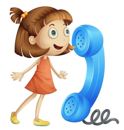 telefono caricatura: ilustración de una chica con un receptor de teléfono en un blanco
