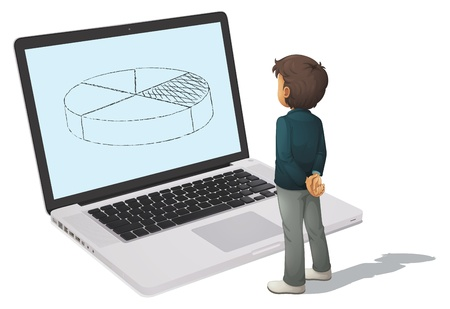 illustration of a laptop and man on a white background Vector