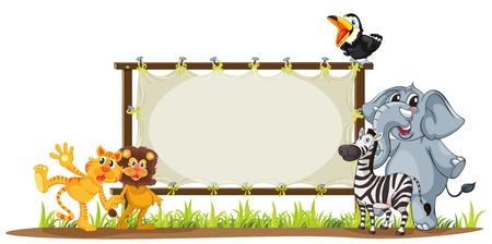wild grass: ilustraci�n de diversos animales con un signo Vectores