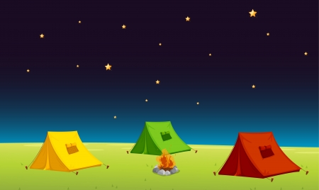 outing: illustration of a tent house and stars in night sky