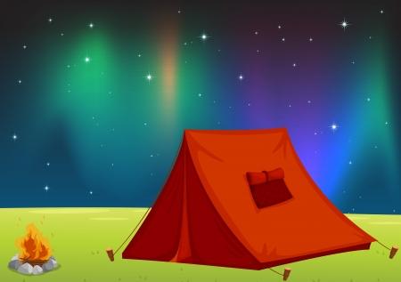 палатка: Иллюстрация из дома палатку и звезды в ночном небе
