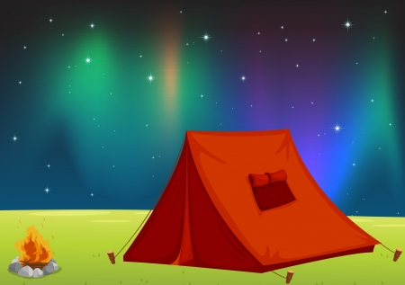 illustration of a tent house and stars in night sky Vector