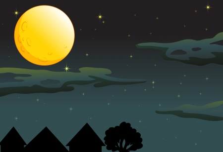 illustration of a moon and stars in dark night sky Vector