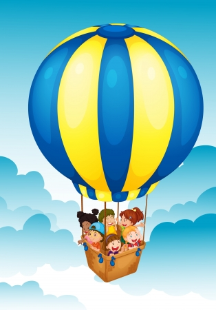 man in air: illustration of kids in a hot air balloon Illustration