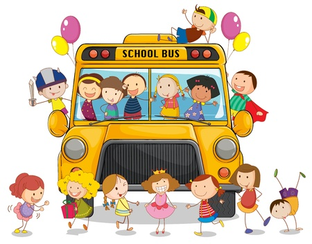 female child: illustration of a school bus and kids on a white