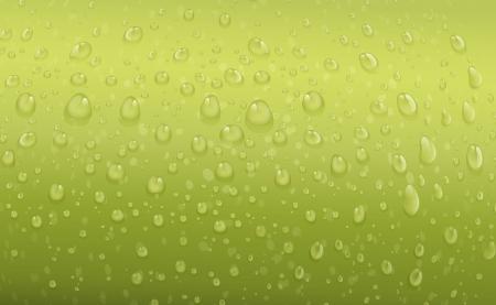 vapore acqueo: illustrazione di gocce d'acqua su uno sfondo verde