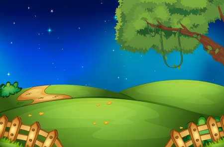 illustration of nature scene and stars in night sky Vector