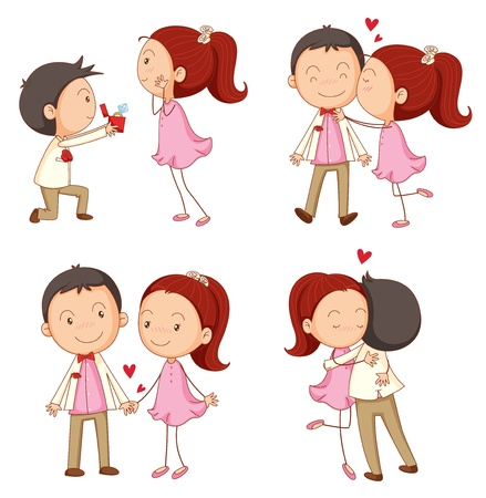 cartoon kiss: illustration of a a boy and a girl on a white background