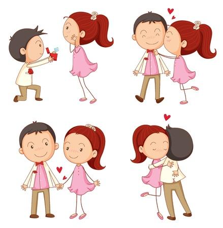 pareja abrazada: ilustraci�n de ni�o de AA y una chica en un fondo blanco