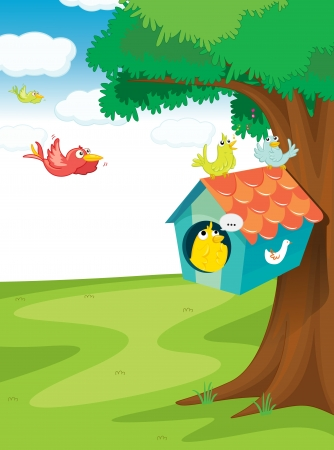 illustration of birds and bird house on tree Vector