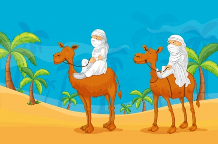 illustration of arabians riding on a camel Vector