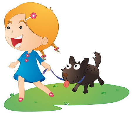 dog walk: illustration of a girl with dog on a white background