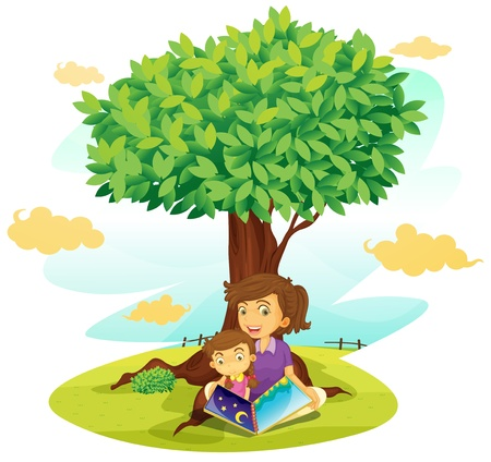 helping children: illustration of a boy and girl studying under tree