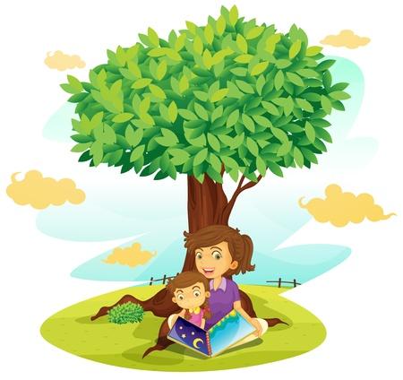 Niños ayudando: ilustración de un niño y una niña estudiando bajo el árbol