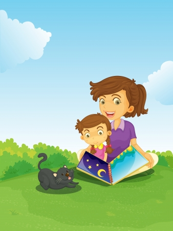mums: illustration of a boy and girl reading book