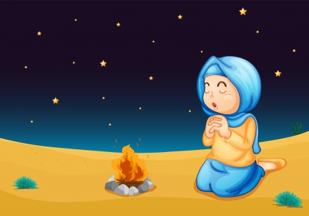 child praying: illustration of a girl near fire in dark night Illustration