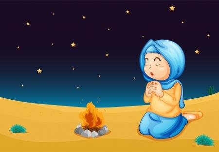 niño orando: ilustración de una chica cerca del fuego en la noche oscura