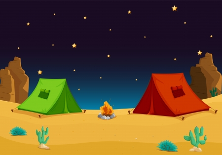 illustration of a tent house and stars in night sky Stock Vector - 14347155
