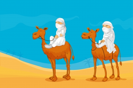 illustration of arabians riding on a camel Ilustração