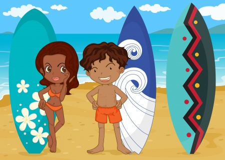 surfers: illustration of a boy and girl with surf pad on a sea shore
