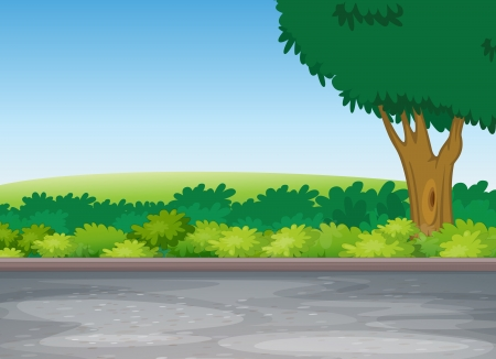 illustration of tree beside road in a beautiful nature Stock Vector - 14347227