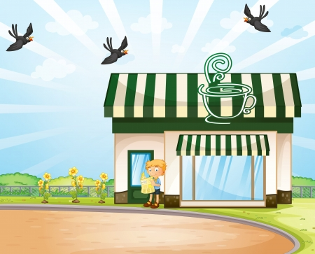 foldable: illustration of a boy and tent coffee shop in beautiful nature  Illustration