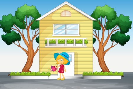 illustration of house and girl in beautiful nature  Vector
