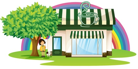 illustration of a girl and tent coffee shop in beautiful nature  Vector