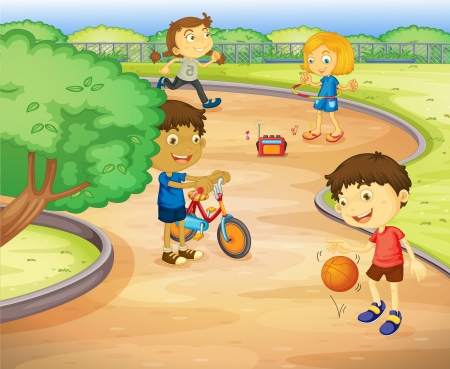 grass area: illustration of a kids playing in the garden