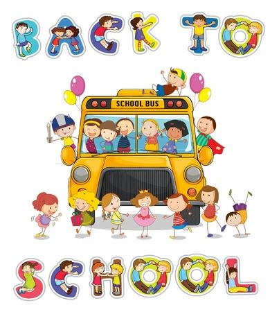 ni�os jugando en la escuela: ilustraci�n de autob�s de la escuela y de regreso a la escuela la palabra Ingl�s Vectores