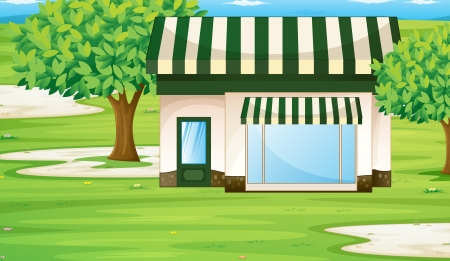 illustration of a tent house on the green grass Vector