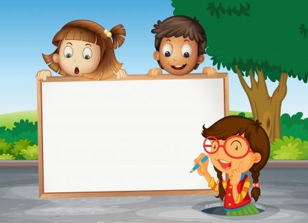 women children: illustration of kids and white board on the road