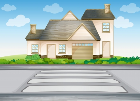 manor: illustration of a house and zebra crossing on a road Illustration