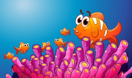 anemones: illustration of group of fish in a blue water Illustration