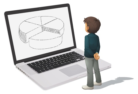advance: illustration of man looking at pie chart on computer screen