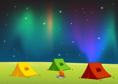 camping tent: illustration of a tent house and stars in night sky