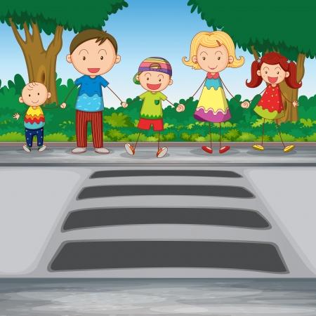 paso de peatones: ilustración de la familia esperando para cruzar por carretera
