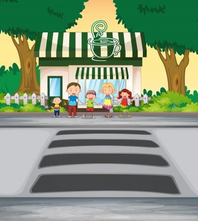 illustratie familie oversteken van de weg in de buurt van coffeeshop